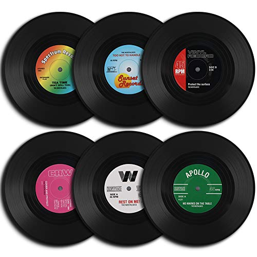 HomEdge - Sottobicchieri, a forma di dischi in vinile, 6 pezzi, stile retrò