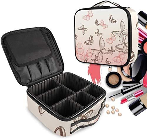 Cosmétique HZYDD Rose Black Butterfly Make Up Bag Trousse de Toilette Zipper Sacs de Maquillage Organisateur Poche for Compartiment Femmes Filles Gratuit