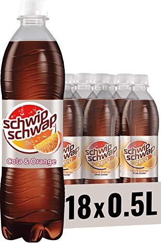 Schwip Schwap ohne Zucker – Koffeinhaltiges Cola-Erfrischungsgetränk mit Orange (18 x 0,5 l)