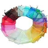 Toruiwa - Bolsas de organza para joyas (100 unidades, bolsa con cordón, bolsa de regalo para dulces, bolsa para manualidades, joyería, almacenamiento, boda, fiesta, regalos, multicolor, 7 x 9 cm)