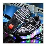 ZXLLAFT Zapatos Luz LED Zapatos Ruedas con Una Sola Rueda Zapatillas Skate Técnicas Retráctiles Zapatos con Ruedas Vibratorias, Mejor Regalo, para Niños,Negro,33