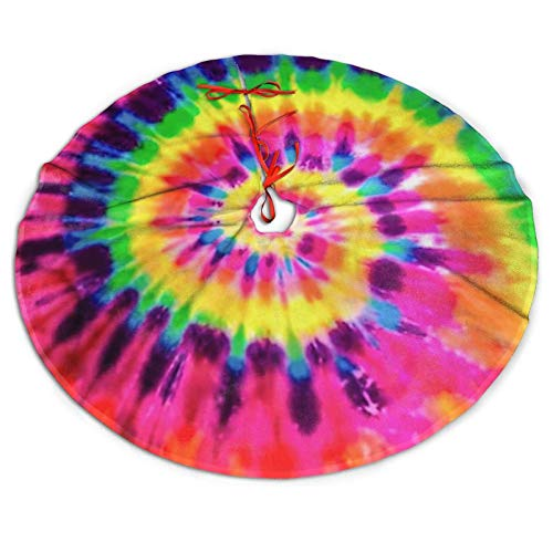 MARTOO ART Christmas Tree Skirt, Colorful Tie Dye Rainbow Decor for Holiday Party Tree Mat for Xmas Decorations 36'