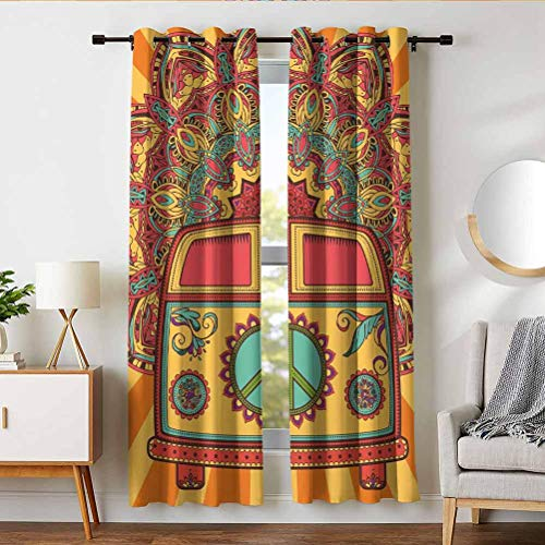 W 63 x L 72 inches Noise Reduction Curtains Privacy Curtain Layer for Bedroom,Window,70s Party Decorations,Hippie Vintage Mini Van Ornamental Backdrop Peace Sign,Coral Orange Turquoise