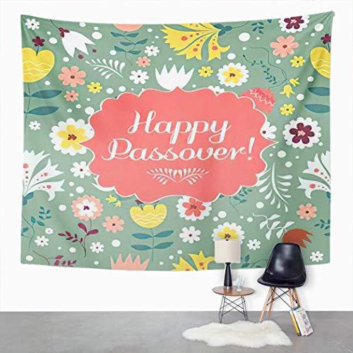 Y·JIANG Feliz Pascua Tapiz, flores de Pesaj Festival flor verde hebreo vacaciones hogar dormitorio decorativo grandes tapices para colgar en la sala de estar, dormitorio, 60 x 50 pulgadas