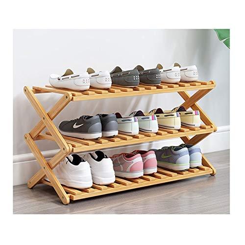 Estante de Zapatos Zapato de bambú Pasquillo Plegable Instalación Gratuita Estante de Zapatos Organizador de Almacenamiento de Zapatos para entradas Inicio Sala de Estar Balcón Organizador de Zapatos