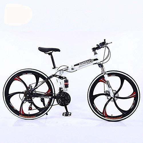 GUO 26-Zoll faltbares Mountainbike Herren- und Damen-Mountainbike mit Vollgeschwindigkeitsfederung 21-Gang-Sportrad mit Scheibenbremse-A3_6 Messerräder