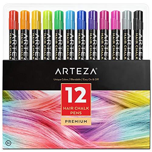 Arteza Tinte temporal de tiza para el pelo | 12 colores de tinte lavable para el cabello | Mechas temporales de colores vivos | Ideal para niñas, Halloween y fiestas de cumpleaños