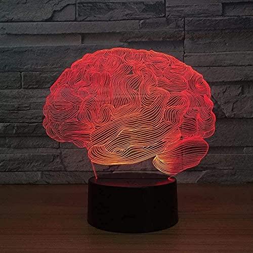 FUTYE Cerebro Modelado 3D Noche Luz LED Diapositivas Colorido Cambio de Color USB Táctil Control Remoto Dormitorio Decoración Lámpara de Mesa Niños Cumpleaños Vacaciones Navidad Regalo Creativo