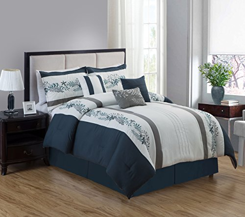 JBFF 7 Piece Oversized Luxury Embroidery Bed in Bag Microfiber Comforter Set Navy Blue (Queen)