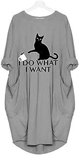 Women Long Sleeve I Do What I Want Letter Print Plus Size Shirt Dress Pocket