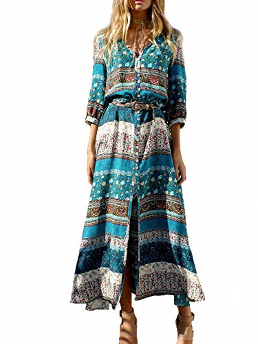 Yidarton Damen Sommerkleid Boho V-Ausschnitt Kleider Maxikleid Strandkleid Lang mit Schlitz (Grün, Medium)