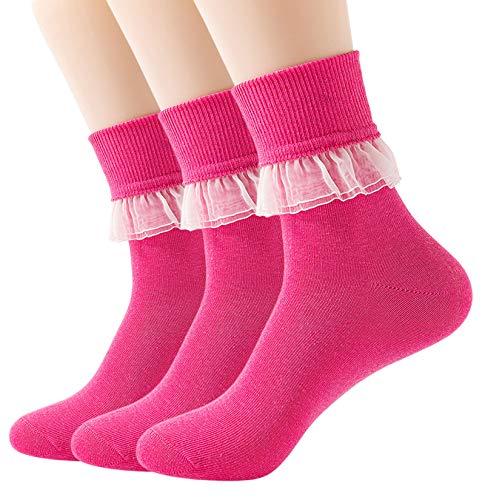 YASIDI Women Lace Ruffle Frilly Ankle Socks Fashion Ladies Girl Princess (Rose Red)