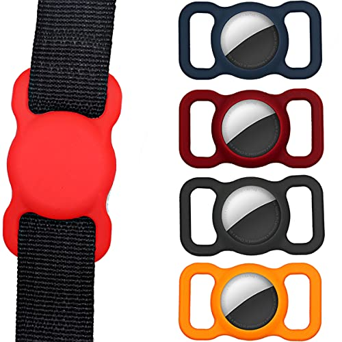 Airtag Holder Compatible for Apple Air Tag Case 4 Pack | Work with Pet Dog Cat Collar and Children's School Bag