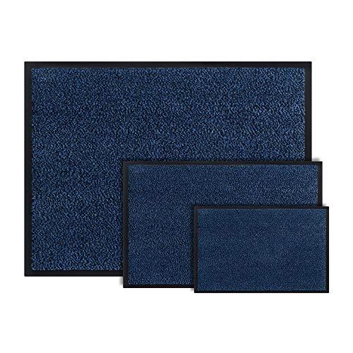 Felpudo Interior para Pasillo, 40 x 60 cm, Felpudo para la Puerta de la casa, Lavable, para la Entrada, Interior y Exterior, Color Azul, algodón, Azul, 40 x 60 cm