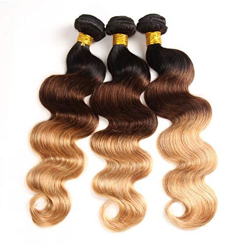 "9A Ombre Human Hair Bundles Ombre Brazilian Hair Body Wave(T1B/4/27,14"" 16"" 18"") Ombre Brazilian Human Hair 100% Unprocessed Virgin Remy Hair Bundles 3 Tone Black to Blonde Human Hair Weave"