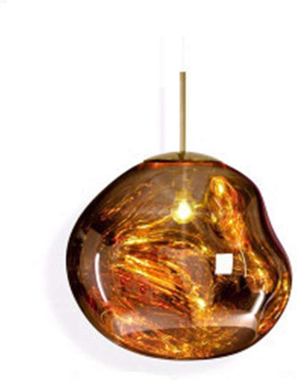 Lava Lampe, Postmodernes Kreatives Restaurant Bar Lampe, Bar Bekleidungsgeschft Schlafzimmer Nacht Dekorative Glas Kronleuchter, Hhenverstellbar 1,2m (mit LED Warme Glühbirne) (Gold,D20cm)