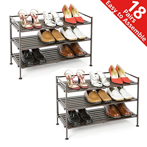 Seville Classics 3-Tier Stackable 9-Pair Woodgrain Resin Slat Shelf Sturdy Metal Frame Shoe Storage Rack (2-Pack) Organizer, Perfect for Bedroom, Closet, Entryway, Dorm Room, 6, Espresso