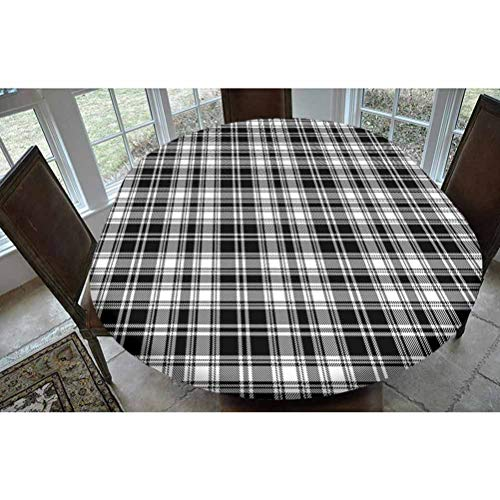 SoSung Abstract Decor Polyester Fitted Tablecloth,British Tartan Pattern with Vertical and Horizontal Symmetric Stripes Image Oblong Elastic Edge Fitted Table Cover,Fits Oval Tables 68x48 Black White