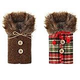GAKIN 2 juegos de Navidad botella de vino cubierta Toppers bolsas con cordón de Navidad decorativo para el hogar vacaciones