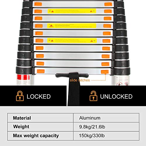 BEETRO 12.5ft Aluminum Telescoping Ladder, Extension Folding Ladder, Multipurpose Ladder for Roofing Business, Outdoor Working, Household Use and More, 330 LB Capacity