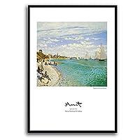 ホーム リビングルームの装飾エントランスの絵ビーチのパターンホテルクラブ、家族、絵画壁画、絵画/黒いフレーム 装飾的な絵画 (Color : C, Size : 50*70cm)