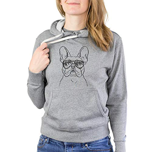Inkopious Franco The French Bulldog French Terry Hoodie Pullover Sweatshirt Unisex Slim Fit Large Grey