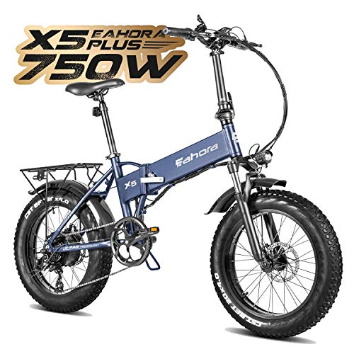 eAhora X5 Plus 750W Fat Tires Folding Electric Bikes for Adults Cruise Control Commuting Ebikes Hydraulic Brakes Shimano 8 Speed Gears Thumb Throttle
