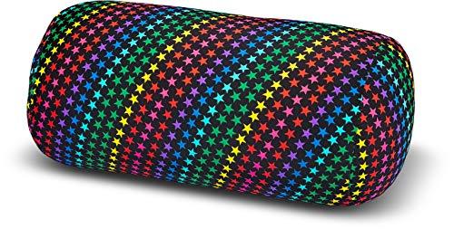 Invitalis Nackenrolle mit Mikroperlen in 19 Farben - Öko tex Standard 100 - Orthopädisches Relaxkissen als Kopfkissen, Reisekissen und Nackenkissen Zuhause oder auf Reisen - Sterne bunt
