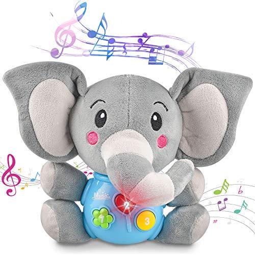 aovowog Baby Spielzeug ab 6 Monaten Plus,Plüschtier Elefant Kuscheltier Spielzeug,Musikspielzeug Sound Spielzeug mit Musik und Licht,Lernspielzeug Geschenk für Kleinkinder Kinder Jungen Mädchen