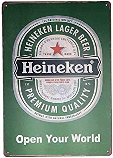 RACHEL CARROLL Heineken Lager Premium Quality Vintage Metal Beer Tin Signs - Bar Signs Vintage Beer Wall Decor Alcohol Signs - Funny Signs for Bar Beer Decorations Bar Sign Decor 8x12inch