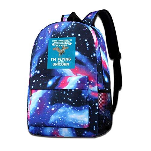 Warm-Breeze Sac à bandoulière imprimé Galaxy dans ma tête Im A Flying Unciorn Fashion Casual Star Sky Sac à Dos pour garçons et Filles