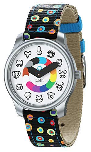 Twistiti Lernuhr für Kinder mit Tierzifferblatt, Verwendung von Symbolen als Zeitlehrer, wasserdicht 50M, langnachleuchtend, ab 3 Jahre alt