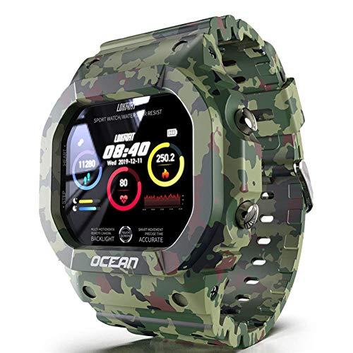 Smart Sport Military Watch IP68 Reloj de Pulsera Cuadrado de Camuflaje Bluetooth Impermeable con Monitor de Ritmo cardíaco/sueño Contador de Pasos Calorías Relojes electrónicos MUL
