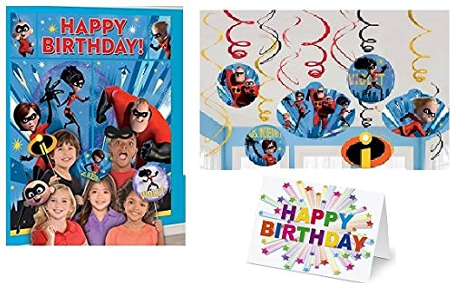 Incredibles 2 Movie Party Scene Setter Wall Decoration with Photo Props (15 PC) Swirl Wall Decoration (12 PC) Party Decoration Plus Birthday Card