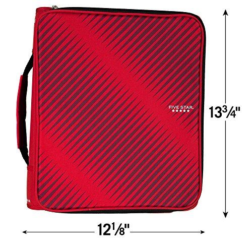 Five Star 2 Inch Zipper Binder, 3 Ring Binder, 6-Pocket Expanding File, Durable, Red (72538) Photo #7