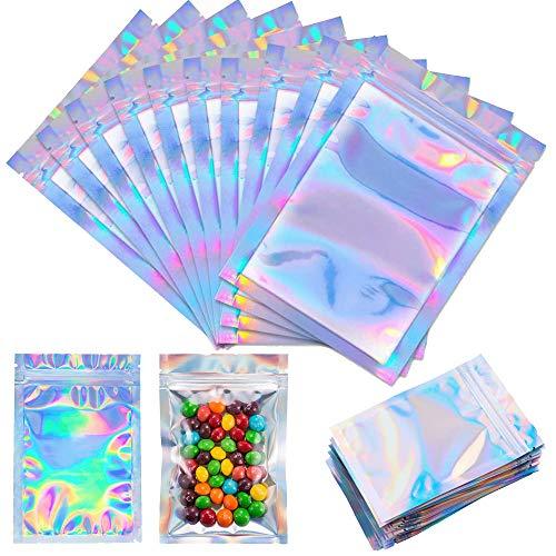 zip bolsas de mylar de bloqueo 100 PC, aluminio claro papel