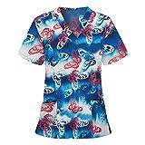 Kasack - Camiseta de manga corta para mujer, diseño colorido, con bolsillos, cuello en V, ropa de trabajo, uniforme de enfermería Working Tops-002 S