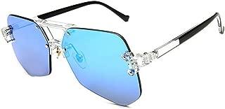 LUKEEXIN Women's Fashion Sunglasses, Transparent Flat Eyewear (Color : Blue)