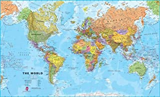 Maps International World Wall Map - Map Of The World Poster - Front Lamination - 47 x 33