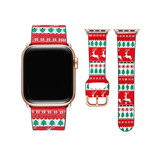 POWER PRIMACY Bands Compatible with Apple Watch Band 38mm 40mm 42mm 44mm, Top Grain Leather Smart Watch Strap Compatible for Men Women iWatch Series 6 5 4 3 2 1,SE(Christmas Tree/Rosegold,38mm/40mm)