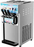 CO-Z Commercial Ice Cream Machine Soft Serve Stainless Steel 3 Flavors Silver 18L/H Silver 1200W, Perfect for Snack, Bar, Restaurants, Supermarkets