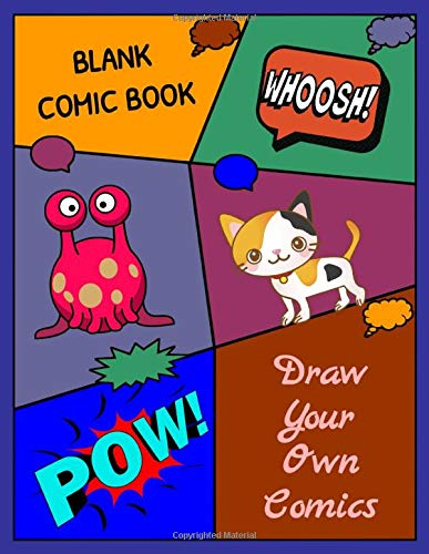 Blank comic book draw your own comics Alien and Cat: Multi template edition | 150 large pages 8.5x11 inches , 6 models of templates