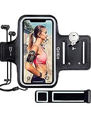 Gritin Telefoonarmband voor iPhone 12 Mini/SE 2020/11 Pro/XS/X/8/7/6 Plus tot 5,8 inch, huidvriendelijke zweetbestendige sportarmband met sleutel en oortelefoonhouder - perfect voor joggen, sportschool