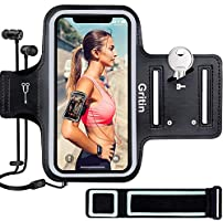 """Gritin Phone Armband for iPhone 12/12 Pro/SE 2020/11/11 Pro/XS/XR/X/8/7/6 Plus up to 6.1"""", Skin-Friendly Sweatproof..."""