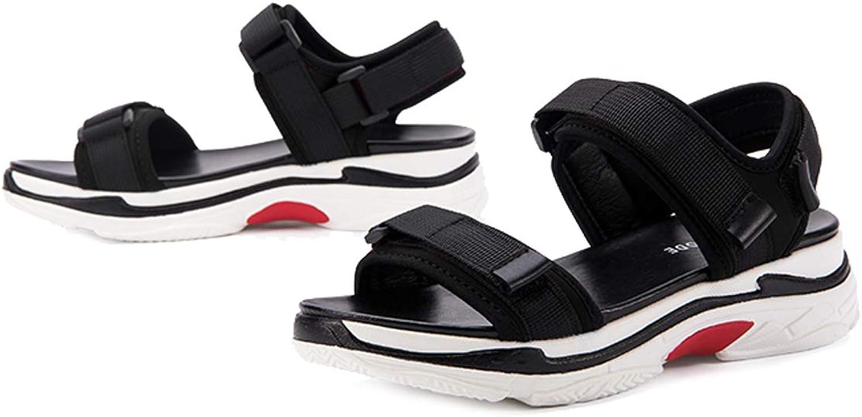 GDLXL Damen Sandalen Exull-q Flache Knchel Schnalle Zehentrenner Flip Flop Sommerschuhe Casual Elegant Schuhe YXC-44,schwarz-EU34