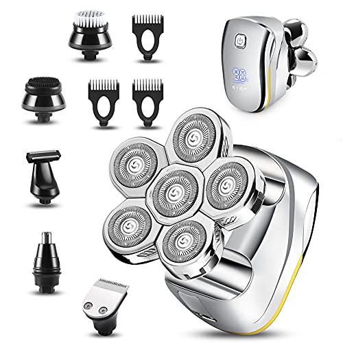 Maquina Afeitar Cabeza, 6 en 1 Afeitadora Cabeza Hombre Rotativa Impermeable En Seco y Húmedo Afeitadora para la Calva Para La Nariz Recortadora De Barba Carga USB