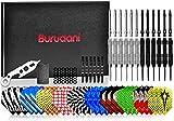 burudani Dardos de punta de metal   amplio juego de dardos de acero con 12 dardos   24 g de dardos originales de torneo con 30 plumas   Optimal: ergonómico y aerodinámico   Diseño