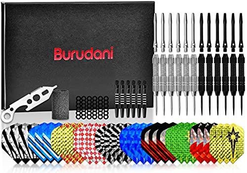 Burudani Dartpfeile Metallspitze | Umfangreiches Steeldarts Set mit 12 Darts | 24g Originale Turnier-Dartpfeile inkl. 30 Flights | Optimal: ergonomisch & aerodynamisch