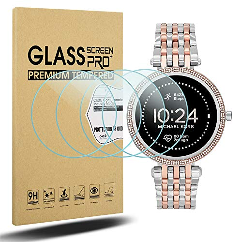 Diruite Michael Kors Gen 5E - Protector de pantalla para mujer (42 mm, dureza 2.5D, cristal templado para Michael Kors Gen 5E de 42 mm, resistente a los arañazos) [ajuste perfecto]
