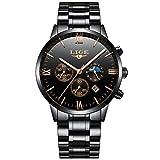 LIGE Watches Men Waterproof Sport Analog Quartz Watch Man Fashion Moon Phase Black Classic Stainless...